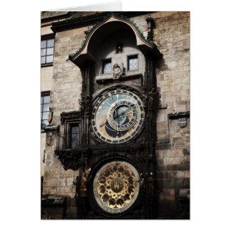 Ancient Astrology Timepiece Clock in Prague Czech Card
