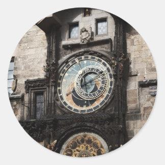 Ancient Astrology Timepiece Clock in Prague Czech Classic Round Sticker