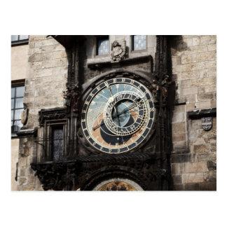 Ancient Astrology Timepiece Clock in Prague Czech Postcard
