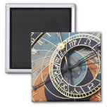 Ancient Astrology Timepiece Czech Clock. 2 Inch Square Magnet