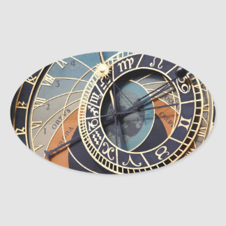 Ancient Astrology Timepiece Czech Clock. Oval Sticker