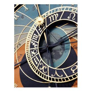 Ancient Astrology Timepiece Czech Clock. Postcard