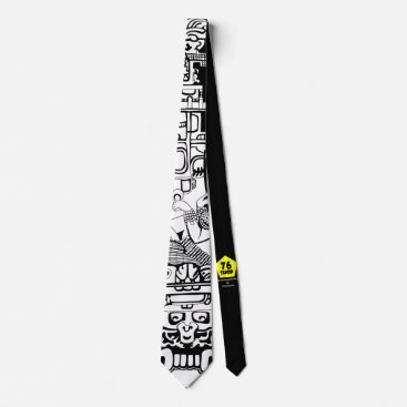 Aztec Themed Ancient Astronaut White Tie