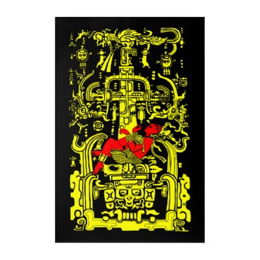 Aztec Themed Ancient astronaut yellow & red version acrylic print