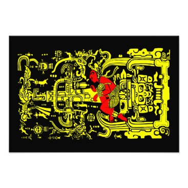 Aztec Themed Ancient astronaut yellow & red version photo print