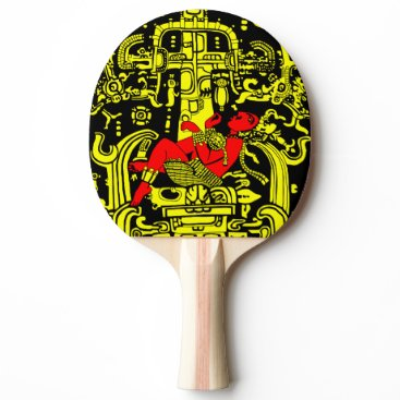 Aztec Themed Ancient astronaut yellow & red version Ping-Pong paddle