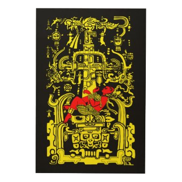 Aztec Themed Ancient astronaut yellow & red version wood wall decor