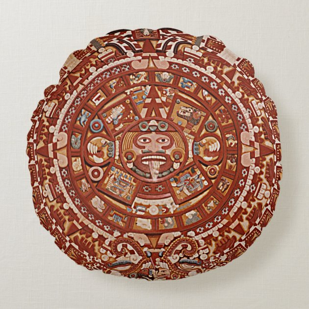 Studio Dalio - Ancient Aztec Calendar Round Throw Pillow
