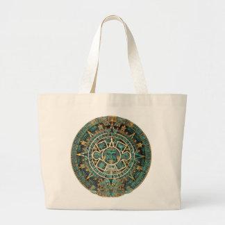 Ancient Aztec Calendar, Round Symbol, gold & teal Large Tote Bag