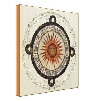 Ancient Aztec Sun Calendar Mexico Drawing Canvas