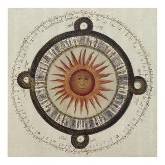 Ancient Aztec Sun Calendar Mexico Drawing Panel Wall Art