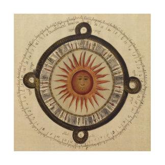 Ancient Aztec Sun Calendar Mexico Drawing Wood Wall Art