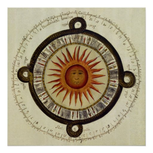 Ancient Aztec Sun Calender from Mesoamerica Poster