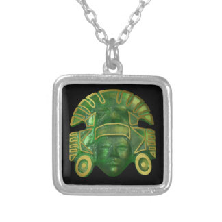 Ancient Aztec Sun Mask Silver Plated Necklace