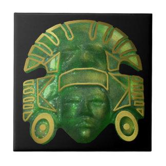 Ancient Aztec Sun Mask Tile