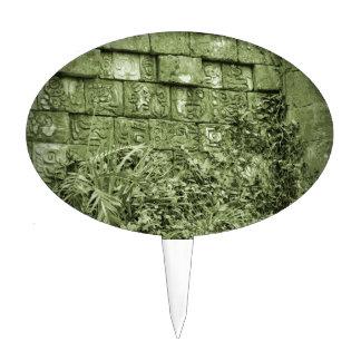 ancient aztec wall replica green tint cake topper