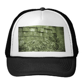 ancient aztec wall replica green tint hats