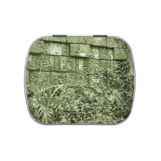 ancient aztec wall replica green tint jelly belly candy tins
