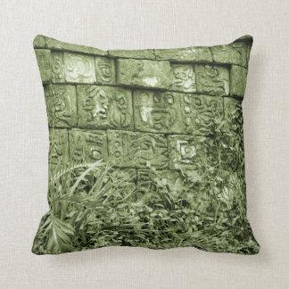 ancient aztec wall replica green tint pillow
