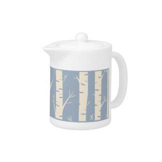 Ancient Birch Forest blue Small Porcelain Teapot