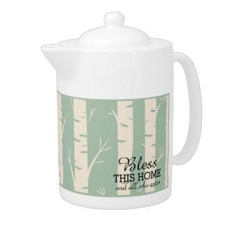 Ancient Birch Forest Green Medium Porcelain Teapot