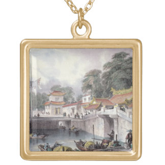 Ancient Bridge over the River at Chapro, c.1850 (c Gold Plated Necklace