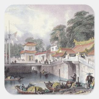 Ancient Bridge over the River at Chapro, c.1850 (c Square Sticker