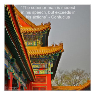 Ancient Chinese Architecture Confucius Poster