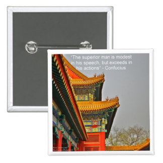 Ancient Chinese Architecture Confucius Quote Gift Pinback Button