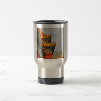 Ancient Chinese Architecture Confucius Quote Gift Travel Mug