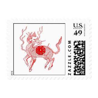 Ancient chinese auspicious dragon horse Lung Ma Postage