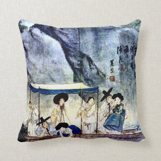 Ancient Chinese Journey Painting Throw Pillow