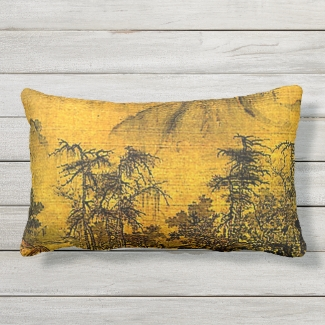 Ancient Chinese Landscape Outdoor Pillow