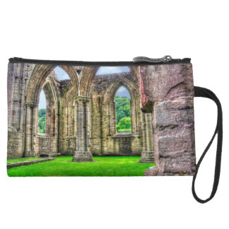 Ancient Cistercian Tintern Abbey 7 Wales, UK Suede Wristlet Wallet