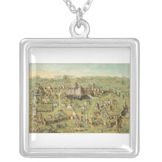 Ancient city of Jerusalem with Solomon's temple Silver Plated Necklace