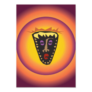 Ancient Civilization Tribal Mask Glowing Sun Card