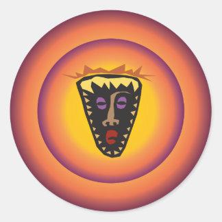 Ancient Civilization Tribal Mask Glowing Sun Classic Round Sticker