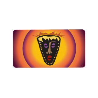 Ancient Civilization Tribal Mask Glowing Sun Label