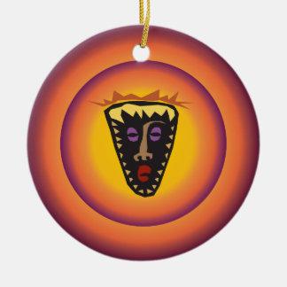 Ancient Civilization Tribal Mask Glowing Sun Christmas Tree Ornaments