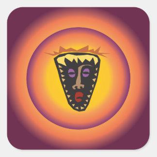 Ancient Civilization Tribal Mask Glowing Sun Square Sticker