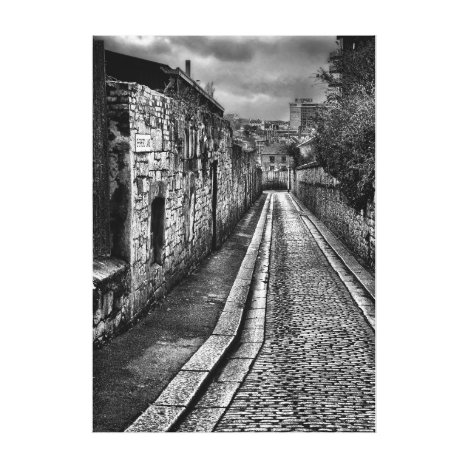 Ancient cobbled street in Plymouth Canvas Print