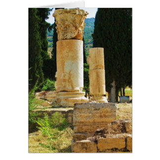 Ancient columns in Pamukkale, Hierapolis, Turkey Card
