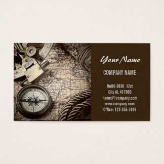 Ancient Compass and Navigation Charts Business Card