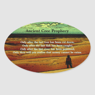 Ancient Cree Prophecy Oval Sticker