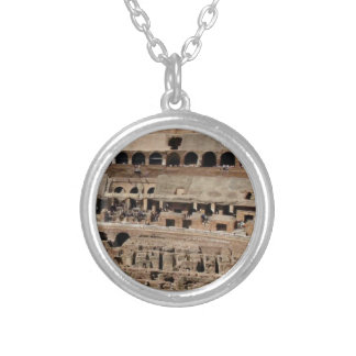 ancient crumble building silver plated necklace