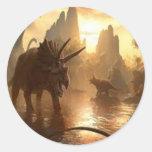 ancient dinosaur round stickers