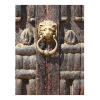 Ancient Door with Lion Knocker Post Card