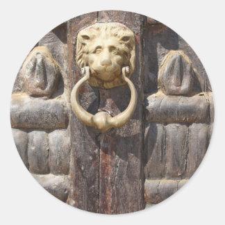 Ancient Door with Lion Knocker Sticker