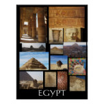 Ancient Egypt Archaeology Pyramids Statues Poster