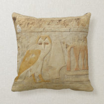 Ancient Egypt Egyptian hieroglyph Owl God Throw Pillow
